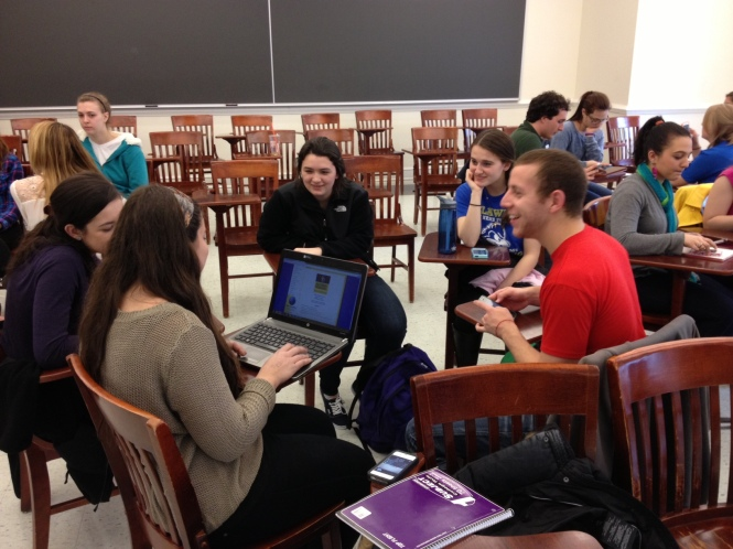 PRSSA-UD members participate in a social media and ethics activity at the last meeting on Monday, March 11.